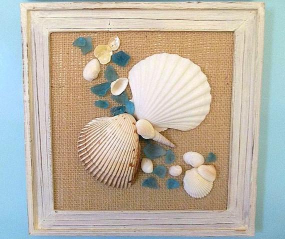 Handmade beach decor seashell sea glass picture beach for Handmade wall frames ideas