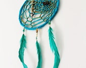 Turquoise Gold Dreamcatcher Dorm Decor Boho Native American Inspired Housewares Wall Hanging Back To School