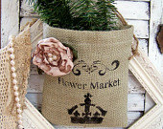 French Farmhouse Burlap Drawstring Bag with Stencil Details and Hand-Ruffled Rose