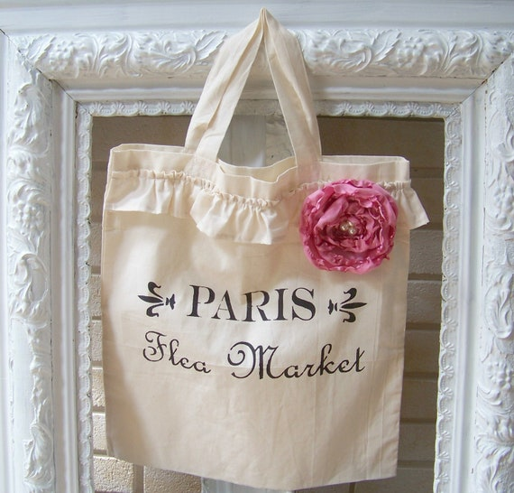 Shabby Chic Craft Tote with Hand-Ruffled Flower and French Stencil