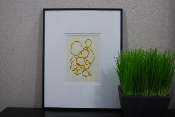 11x14 Total Size - Gold Paint 5x7 Small Cirlique Painting - Gold Minimalist Painting - Simple Contemporary Art, Comes Matted & Framed.