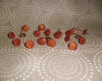 Orange Glitter Thumb Tacks , Push Pins Set
