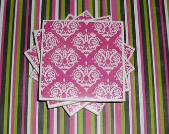 Coasters Pink and White Pattern, Felt-Backed, Tile, Set of Four