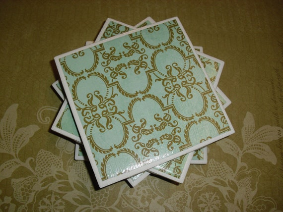 Tile Coasters Set of Four: Blue/Green and Brown Print, Felt-Backed, Tile