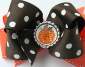 Girls Double Boutique Fall Hairbow -  Pumpkin Personalized Bottle cap Baby Toddler Girls Boutique Bow