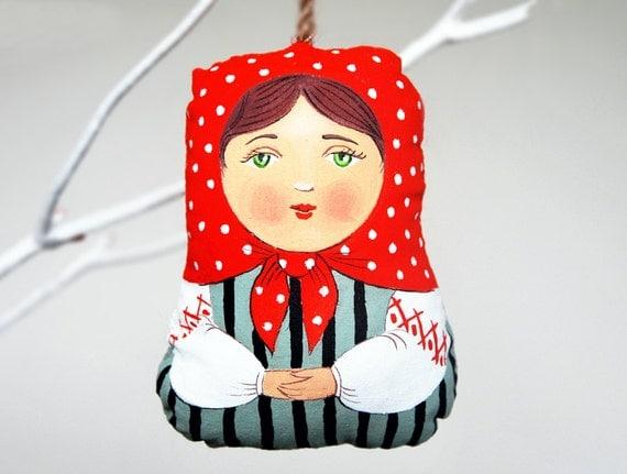 babushka painted folk art doll