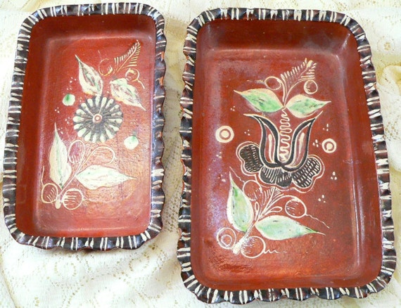 Tlaquepaque Stacking Trays, Hand Painted Dishes, Mexican Folk Art Pottery