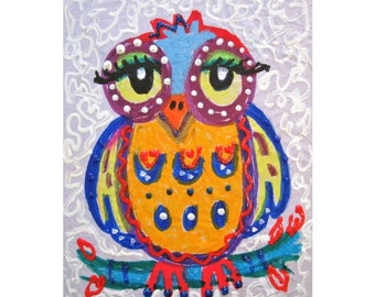 Yellow And Blue, Owl Print, Kids Wall Art, Childrens Room Decor, Nursery Room Print, Little Yellow Owl by Paula DiLeo