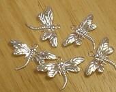 5 Silver Tone Metal Dragonfly Charm