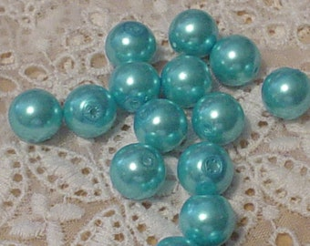 12 Turquoise Blue Pearls 11mm, Big Bead,Jewelry Making, Glass Beads, Jewelry Art, Spacers,Supplies,Commercial,Bead Collector,Craft Supply