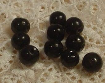 Basic Black Glass Bead 8mm 10ea