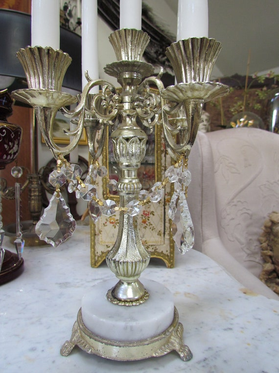 Vintage Italian Marble Candelabra With Crystal Prisms