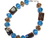 925 Sterling Silver 8mm Sparkling Light Blue and Brown Glass Crystal Beads with Rectangular Millefiori Glass Beaded Bracelet