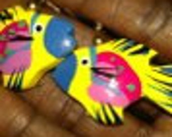 Yellow Tropical Fish  Earrings..Very Unique And Cute...