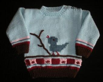 Hand Knitted Bird Baby Sweater