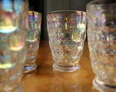 Vintage Thumbprint Iridescent Juice Glasses - Set of 4