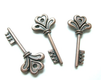 6pc antique copper fancy key pendant-5424