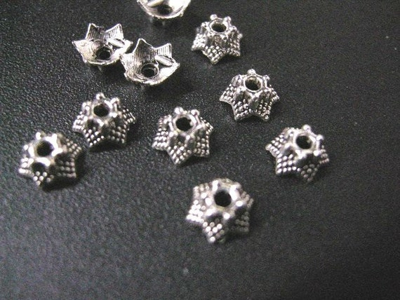 30pc 6mm antique silver flower bead caps-5774