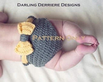 PDF Instant Download Bow Diaper Cover and Bow Headband  Crochet Pattern
