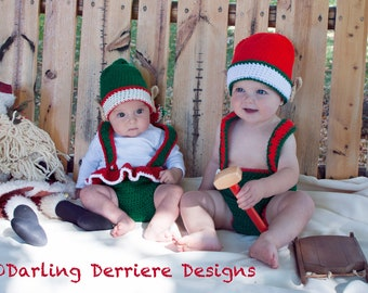 PDF Instant Download Baby Elf Girl and Boy Crochet Hat, Suspenders, and Diaper Cover Pattern