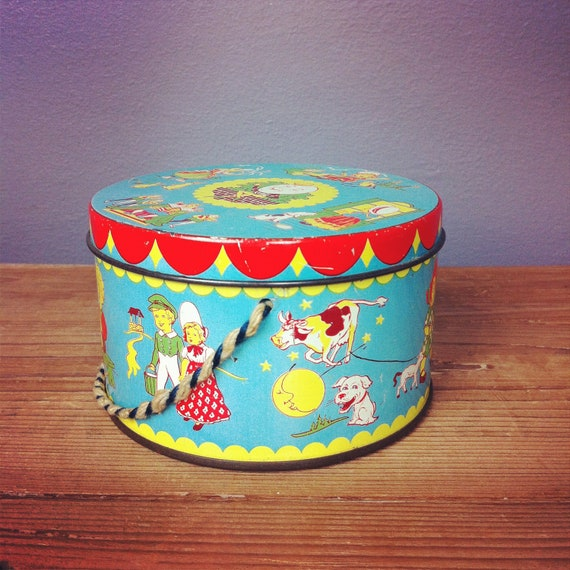 Rare Vintage 1930s Tin Drum Toffee Nursery Rhymes Toy