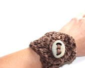 Crocheted Brown Bracelet with Hand Drilled Stone Closure