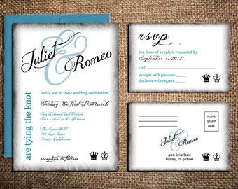King and Queen Wedding Invitation & RSVP Card - Chess Wedding - Burnt Edges - Printable DIY