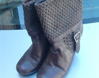 ITALIAN brown leather boots size 37 never ware circa 1990's