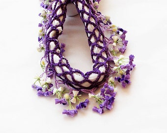 Purple Crochet Jewelry, Handmade Purple Crochet Necklace, Crochet Necklace