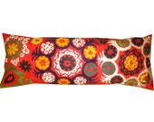 Extra Long Tribal Red Suzani Lumbar Vintage Hand Embroidered Pillow Cover ( Red, Yellow, Mint Green) 16'' x 42''