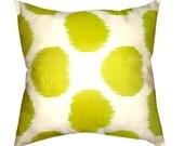 Lime Green Polka Dot Hand Woven Uzbek Ikat Pillow Cover (16'' x 16'')