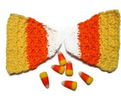 Candy corn shaped crochet cotton washcloths or coasters set of two, autumn, Halloween housewares decor
