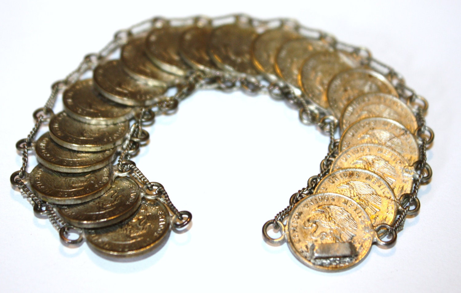 Vintage Bracelet Mexico Coin Link Peso 1950s Jewelry by patwatty