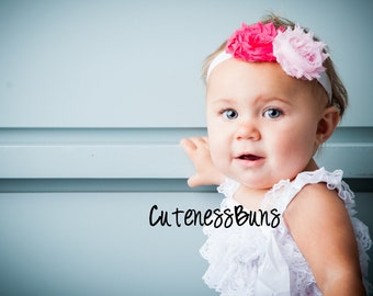Baby Headband, Infant Headband, Pink Headband, Baby Flower Headband, Head band, Baby Bows, Child Headband, Newborn Headband