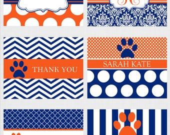Auburn Tigers Thank You Cards, Auburn Stationary, Auburn Notecards