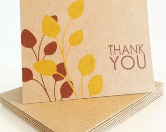 Kraft Paper Yellow and Brown Leaves Personalized Thank You Cards, Leaves Stationary, Branch Stationary, Kraft Stationary
