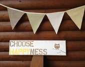 Choose HAPPYness Owl Sign nursery decor owl yellow Rustic brown owls kids decor neutral boy girl room dorm