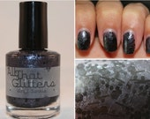 Vinyl Junkie -  grey and black glitter nail polish (RETIRING)