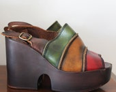 Vintage 1990s Rasta colored Hippie Red Brown Green Yellow Leather platform shoes 38 US 7.5