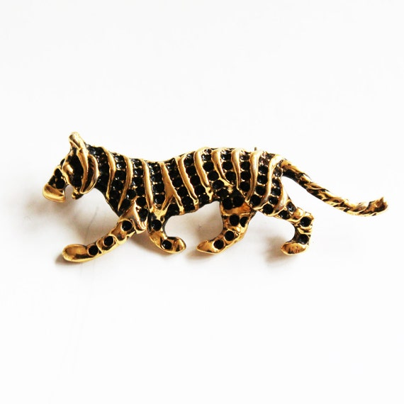 Vintage 1980s Golden Cool Cat Tiger Black Rhinestone brooch