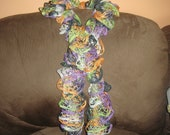 Hand knitted scarf using - Sundance Frill Mesh Yarn- Wicked