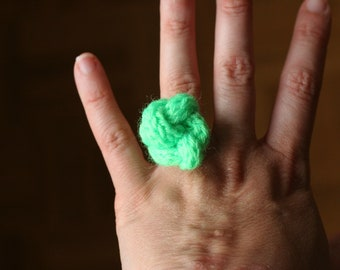 neon green wool knot ring