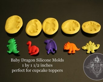 5 Assorted  Baby Dinosaur / Dragon Silicone Molds