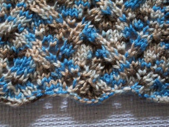 Knitted baby blanket - heirloom lace - blue, brown, tan