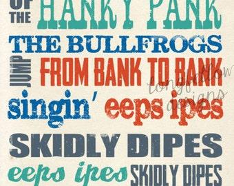Bullfrog Jump From Bank to Bank - KerPlunk - Nursery Art - Customize Colors