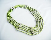 Amazing Vintage 1950s One Of  A Kind  Hand Painted Collar Neon Yellow Emerald Rhinestone Necklace