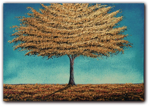 Original Golden Tree Painting, Contemporary Flower Tree Art, Impasto Landscape Oil Painting, 5 x 7, Golden Soul