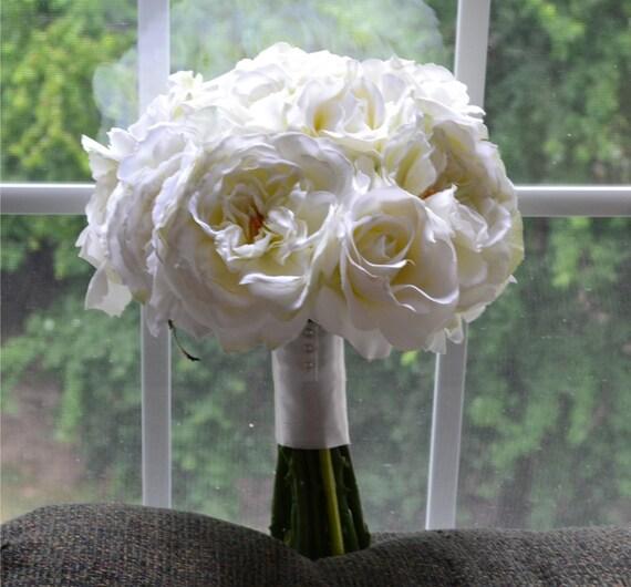 Creamy White Bouquet - cream, white, off-white, ivory, white bouquet, white wedding, Silk Garden Roses, Roses, and Ranunculuses