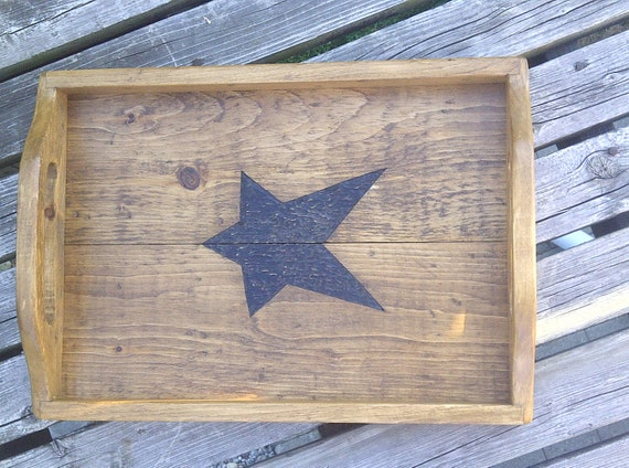 Rustic Handmade Wooden Serving Tray - Aged Pine with hand carved star