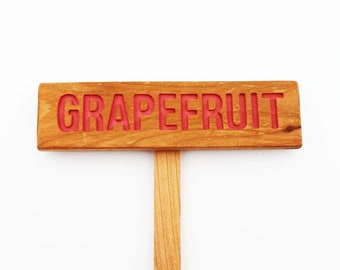 GRAPEFRUIT Rustic Tree Sign, Hand Routed, Citrus Tree Marker, Wooden Garden Sign
